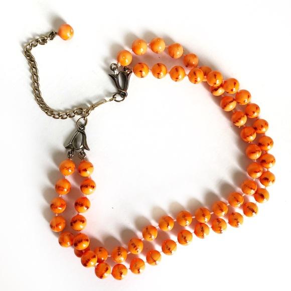 Vintage 50's Double Strand Orange Choker Necklace